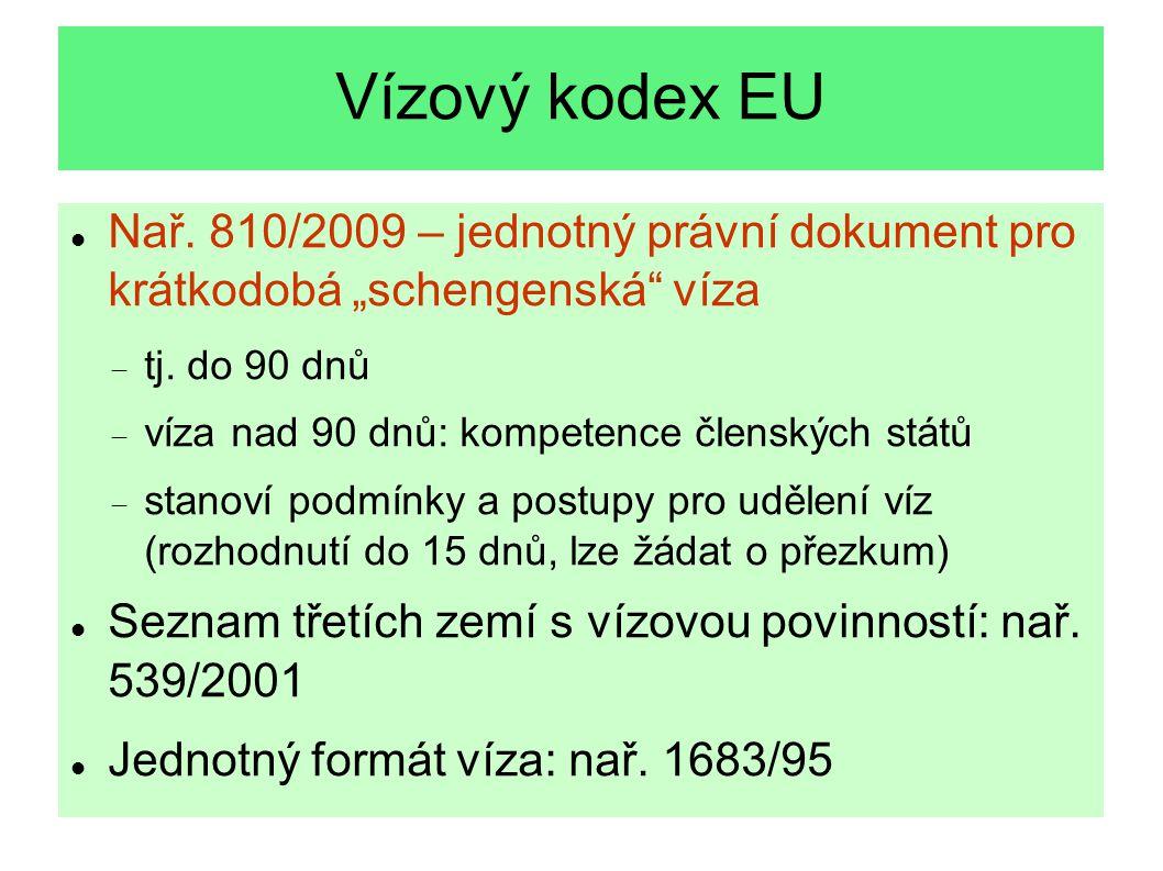 """Vízový kodex EU Nař. 810/2009 – jednotný právní dokument pro krátkodobá """"schengenská víza. tj. do 90 dnů."""