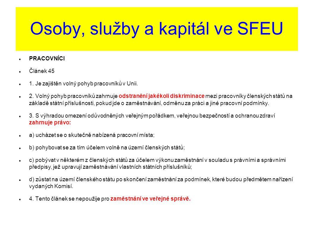 Osoby, služby a kapitál ve SFEU