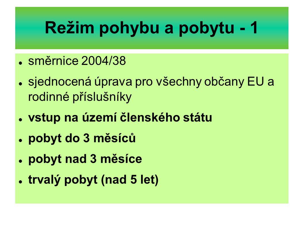 Režim pohybu a pobytu - 1 směrnice 2004/38