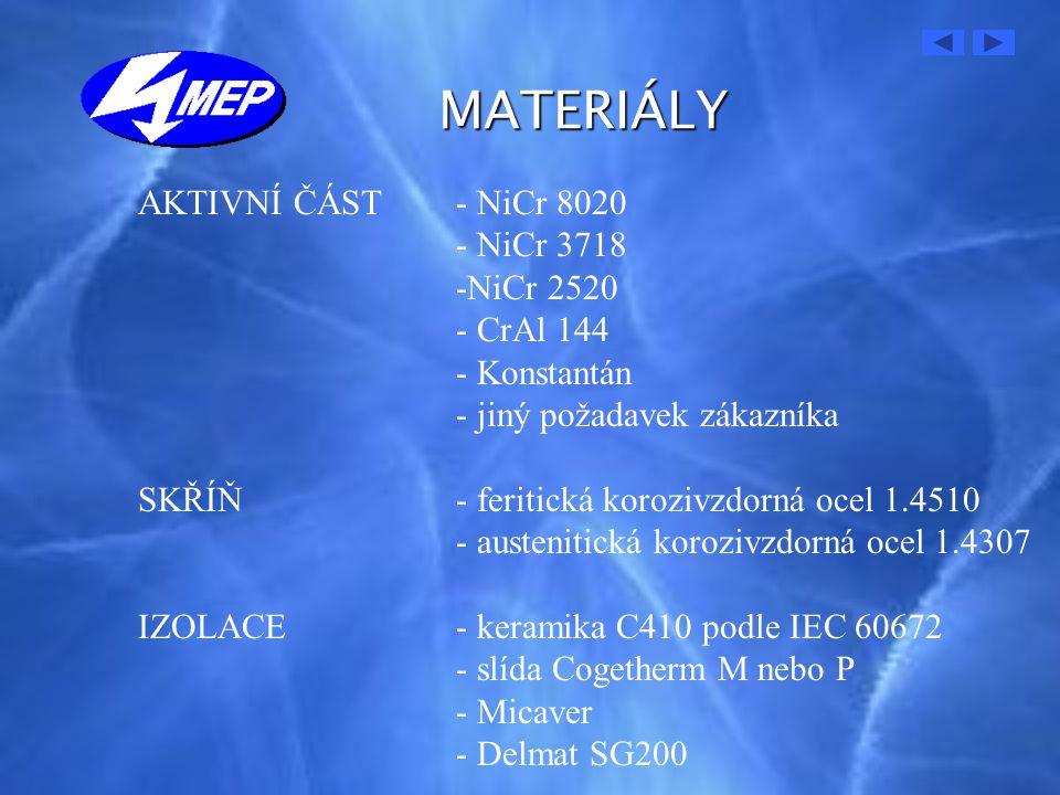 MATERIÁLY AKTIVNÍ ČÁST - NiCr 8020 - NiCr 3718 -NiCr 2520 - CrAl 144
