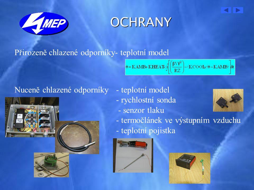 OCHRANY Přirozeně chlazené odporníky- teplotní model