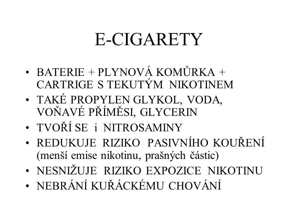 E-CIGARETY BATERIE + PLYNOVÁ KOMŮRKA + CARTRIGE S TEKUTÝM NIKOTINEM