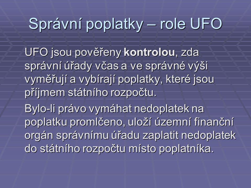 Správní poplatky – role UFO