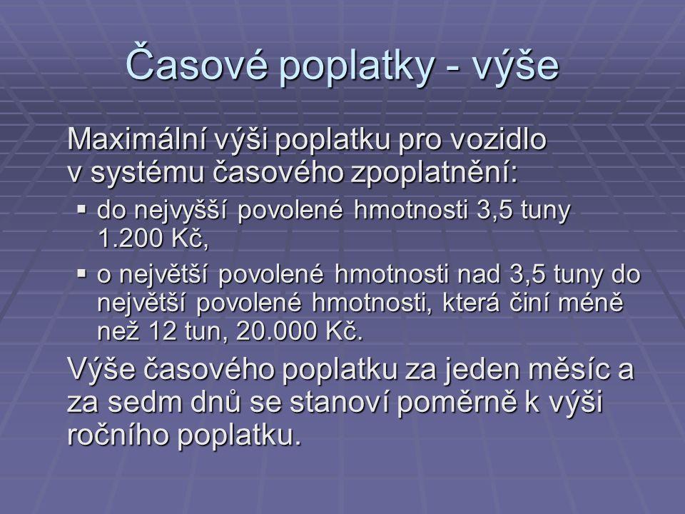 Časové poplatky - výše Maximální výši poplatku pro vozidlo v systému časového zpoplatnění: do nejvyšší povolené hmotnosti 3,5 tuny 1.200 Kč,