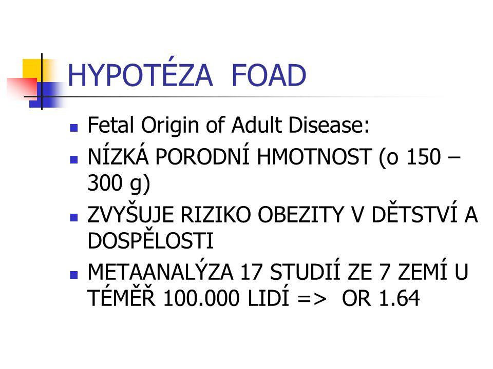HYPOTÉZA FOAD Fetal Origin of Adult Disease: