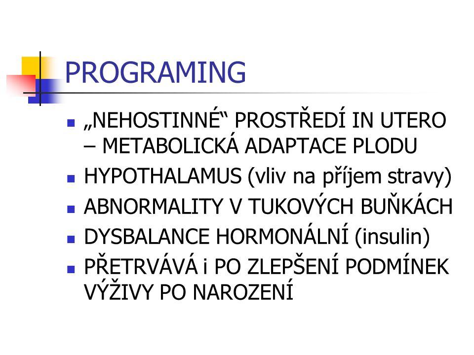 """PROGRAMING """"NEHOSTINNÉ PROSTŘEDÍ IN UTERO – METABOLICKÁ ADAPTACE PLODU. HYPOTHALAMUS (vliv na příjem stravy)"""
