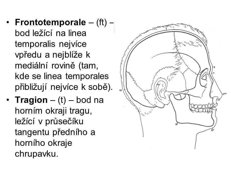 Frontotemporale – (ft) – bod ležící na linea temporalis nejvíce vpředu a nejblíže k mediální rovině (tam, kde se linea temporales přibližují nejvíce k sobě).