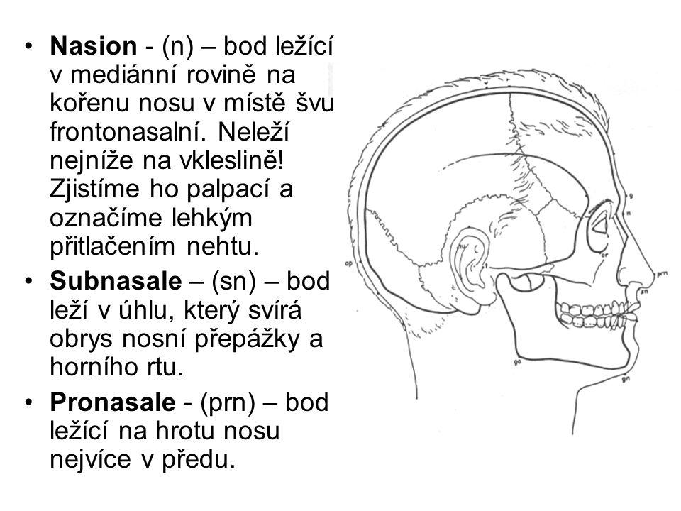 Nasion - (n) – bod ležící v mediánní rovině na kořenu nosu v místě švu frontonasalní. Neleží nejníže na vkleslině! Zjistíme ho palpací a označíme lehkým přitlačením nehtu.