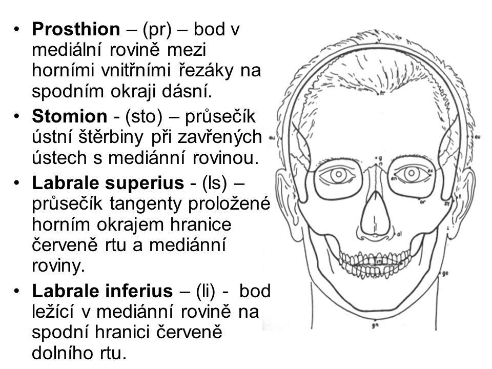 Prosthion – (pr) – bod v mediální rovině mezi horními vnitřními řezáky na spodním okraji dásní.