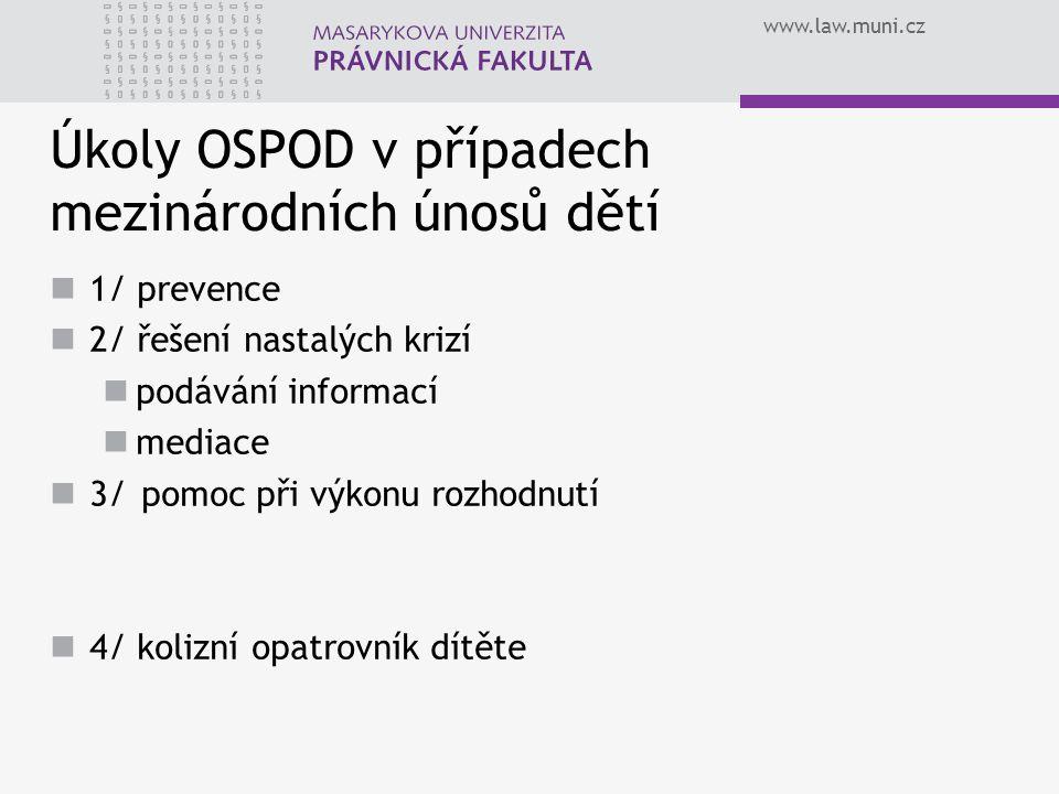 Úkoly OSPOD v případech mezinárodních únosů dětí