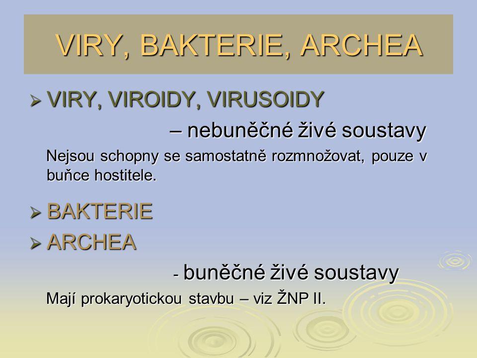 VIRY, BAKTERIE, ARCHEA VIRY, VIROIDY, VIRUSOIDY