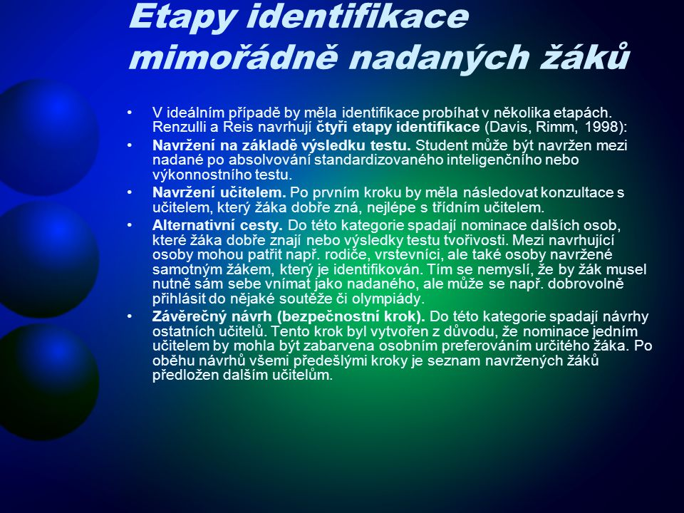 Etapy identifikace mimořádně nadaných žáků