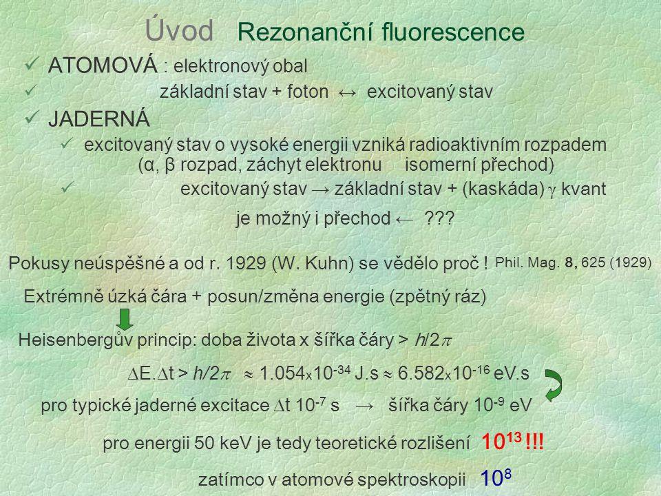 Úvod Rezonanční fluorescence