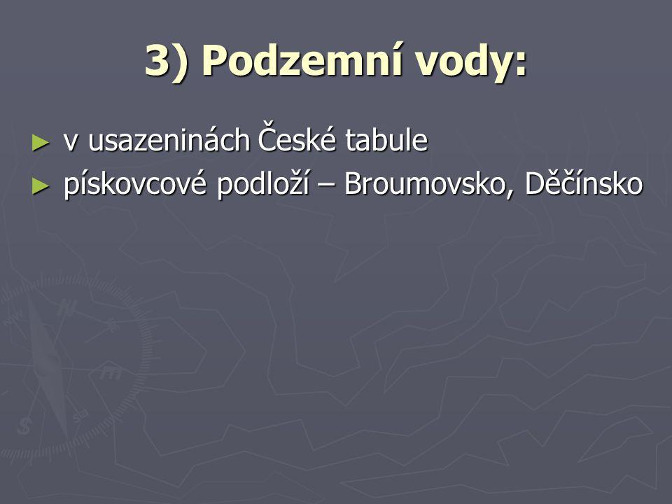 3) Podzemní vody: v usazeninách České tabule