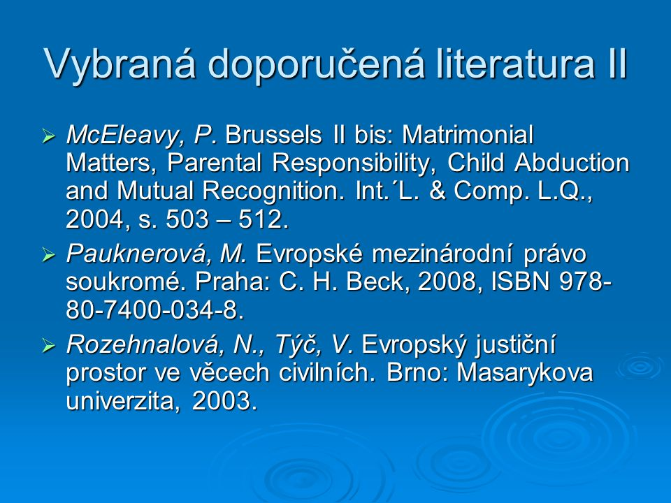 Vybraná doporučená literatura II