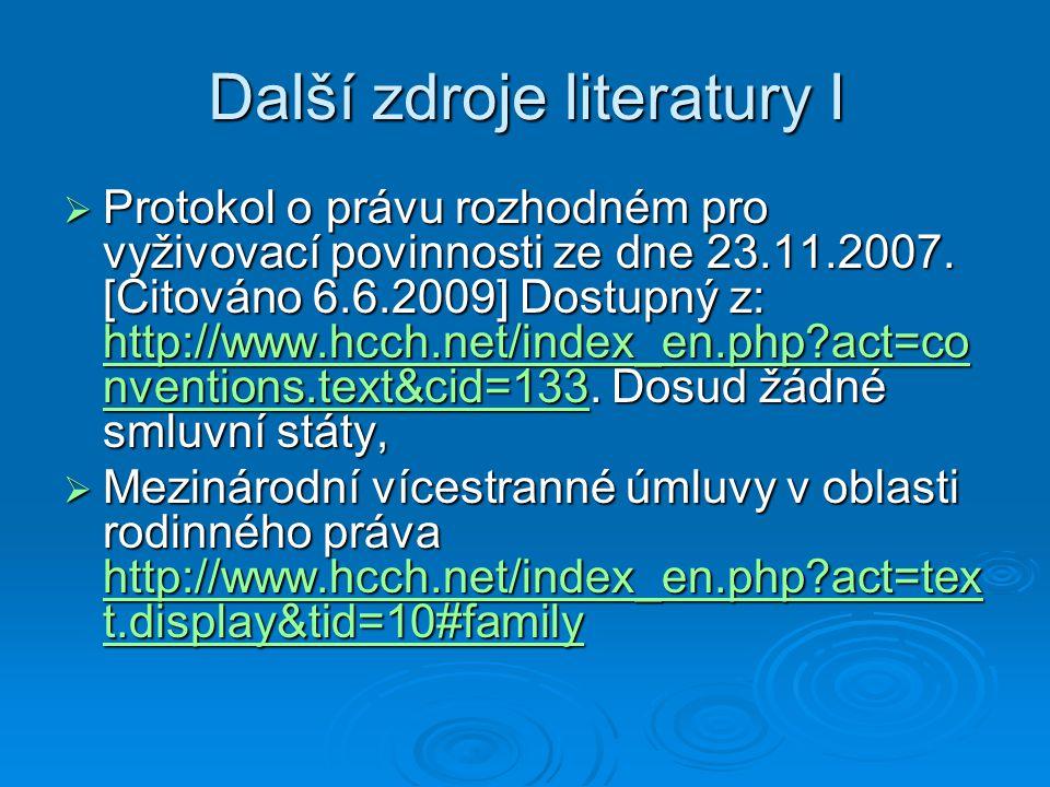 Další zdroje literatury I
