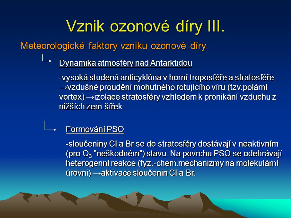 Vznik ozonové díry III. Meteorologické faktory vzniku ozonové díry