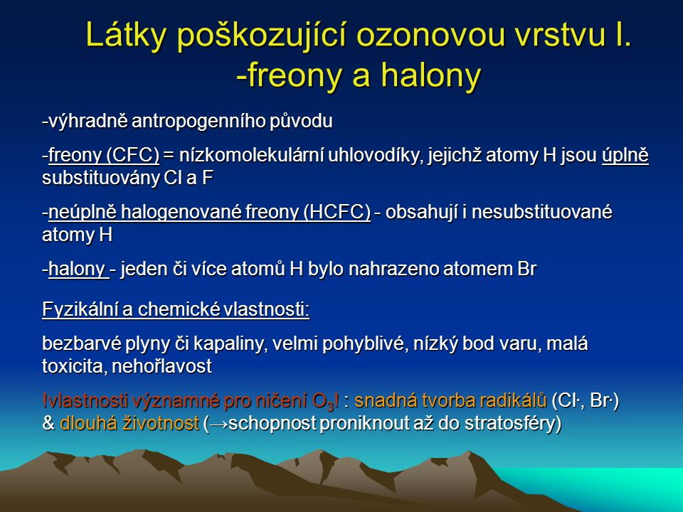 Látky poškozující ozonovou vrstvu I. -freony a halony