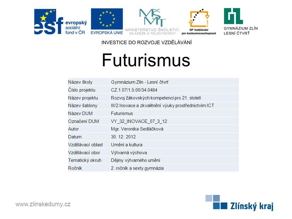 Futurismus www.zlinskedumy.cz Název školy Gymnázium Zlín - Lesní čtvrť
