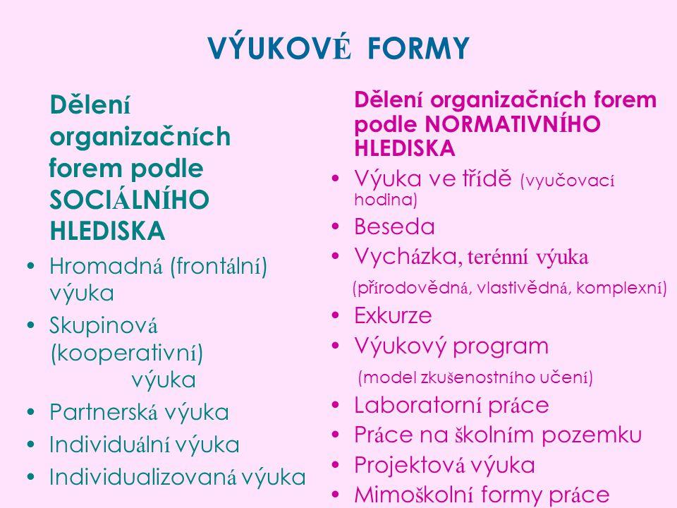 VÝUKOVÉ FORMY Dělení organizačních forem podle SOCIÁLNÍHO HLEDISKA