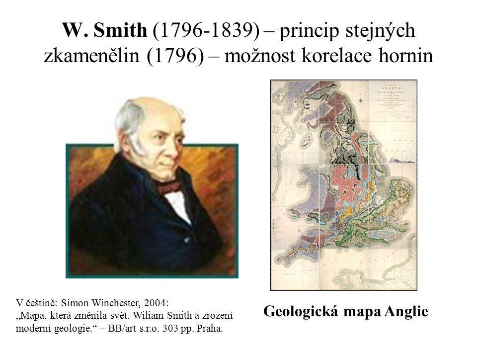 W. Smith (1796-1839) – princip stejných zkamenělin (1796) – možnost korelace hornin