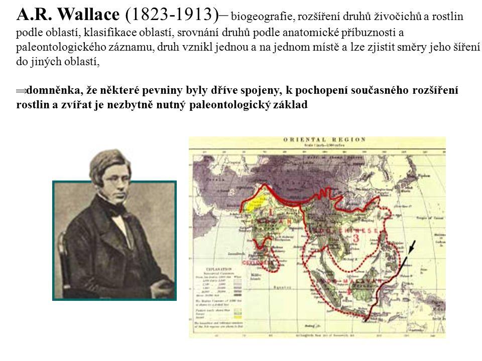 A.R. Wallace (1823-1913)– biogeografie, rozšíření druhů živočichů a rostlin