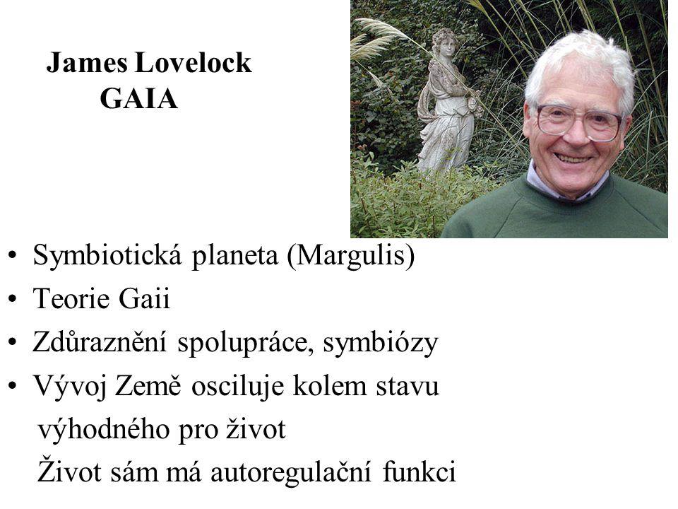 James Lovelock GAIA. Symbiotická planeta (Margulis) Teorie Gaii. Zdůraznění spolupráce, symbiózy.