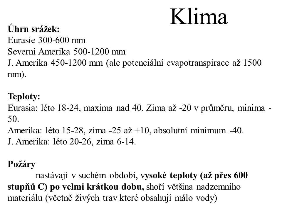 Klima Úhrn srážek: Eurasie 300-600 mm Severní Amerika 500-1200 mm