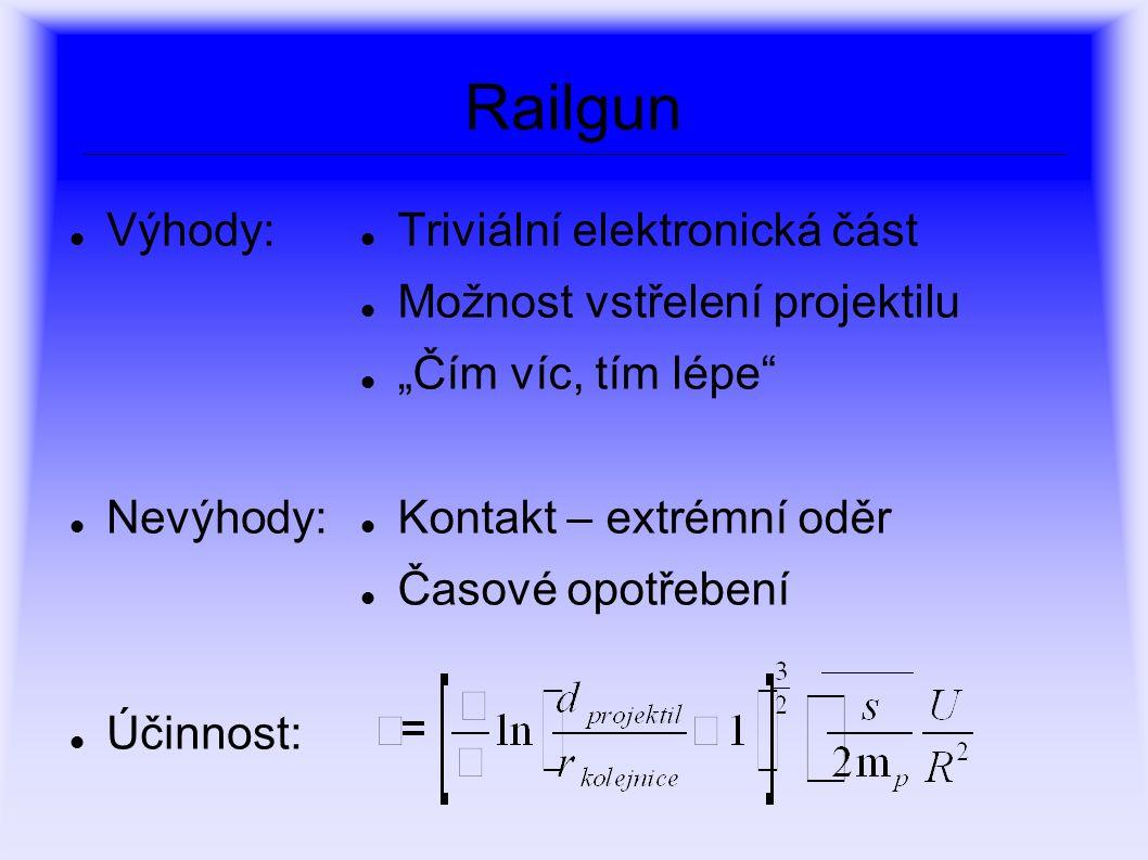 Railgun Výhody: Nevýhody: Účinnost: Triviální elektronická část