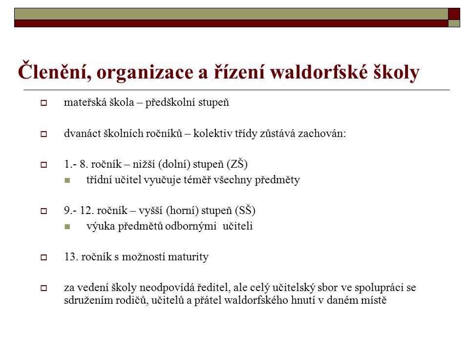 Členění, organizace a řízení waldorfské školy