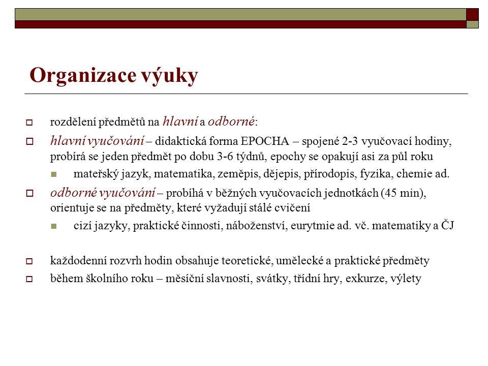 Organizace výuky rozdělení předmětů na hlavní a odborné: