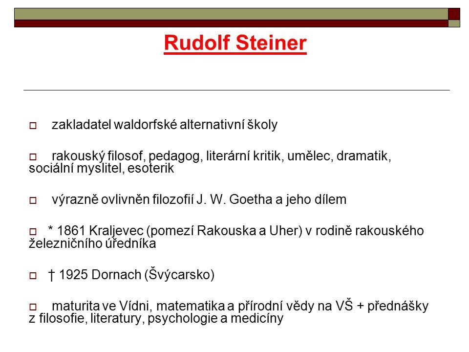 Rudolf Steiner zakladatel waldorfské alternativní školy