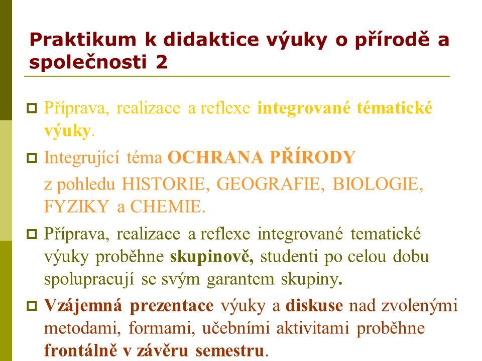 Praktikum k didaktice výuky o přírodě a společnosti 2