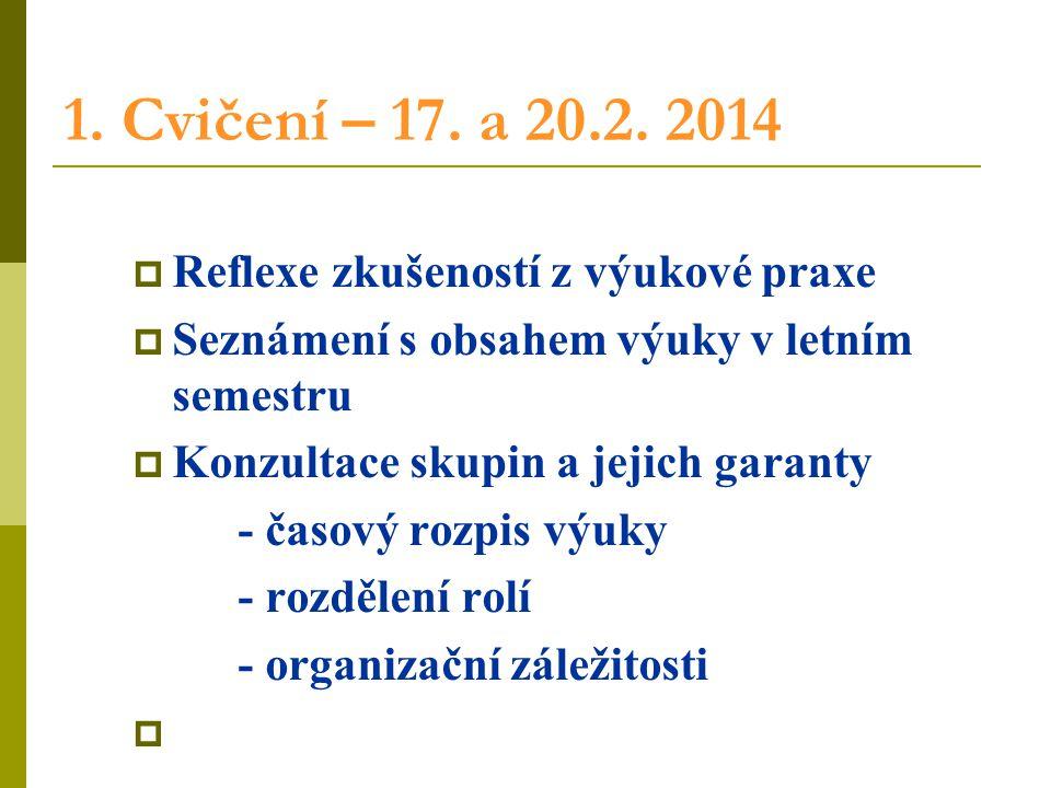1. Cvičení – 17. a 20.2. 2014 Reflexe zkušeností z výukové praxe