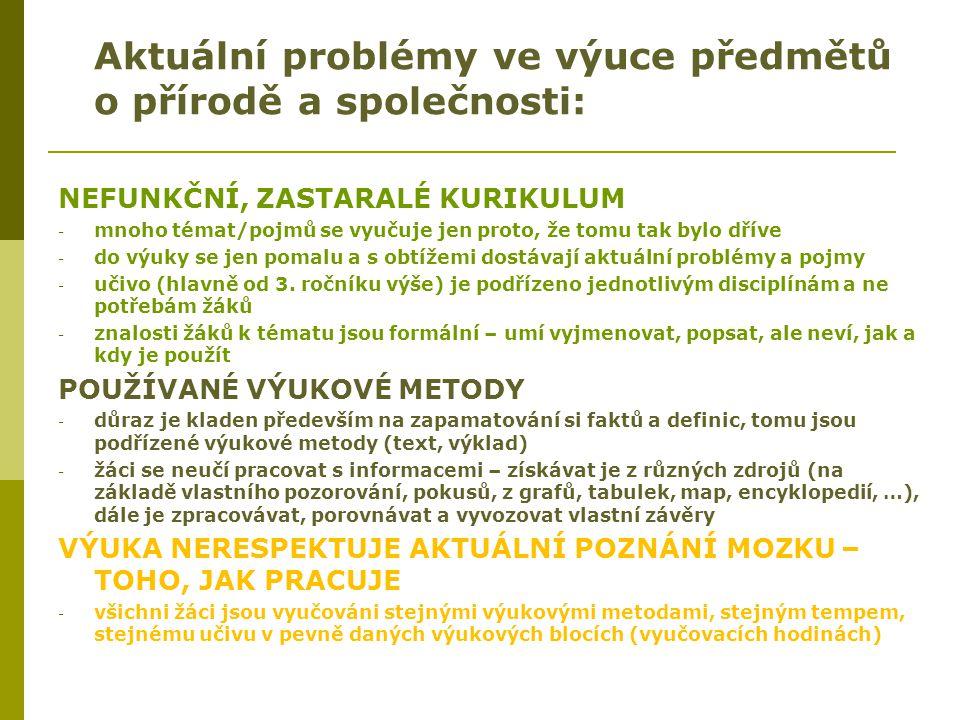 Aktuální problémy ve výuce předmětů o přírodě a společnosti: