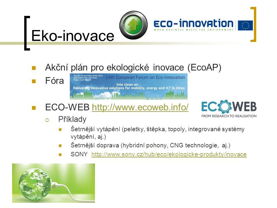 Eko-inovace Akční plán pro ekologické inovace (EcoAP) Fóra