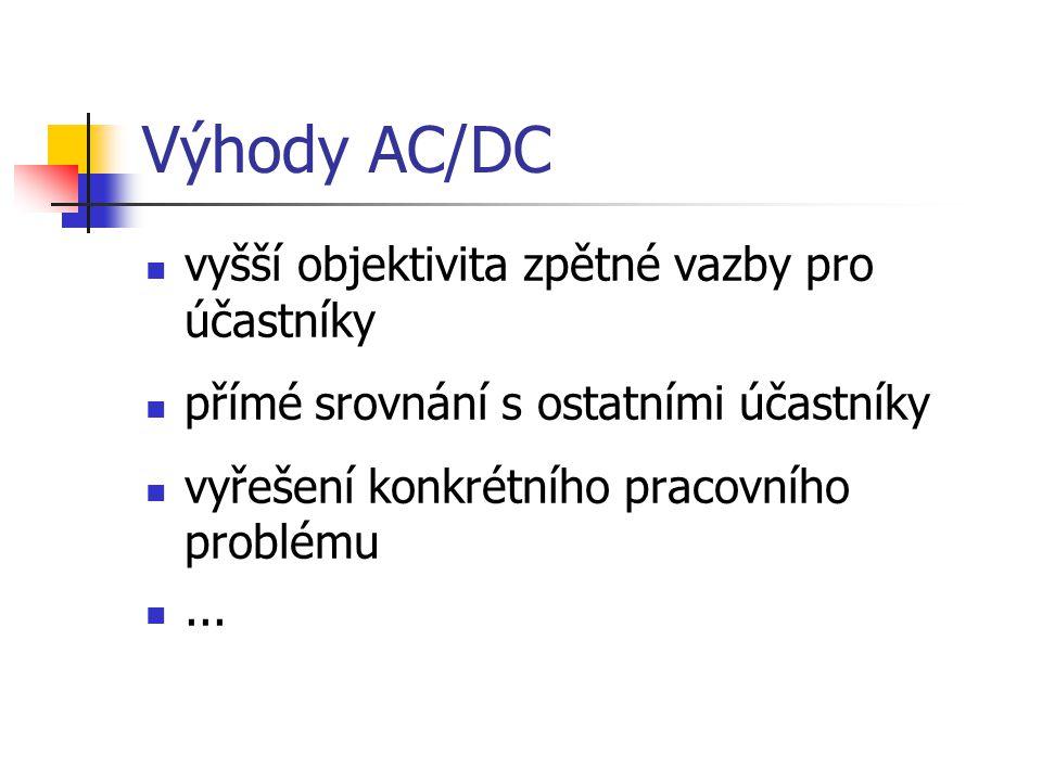Výhody AC/DC vyšší objektivita zpětné vazby pro účastníky