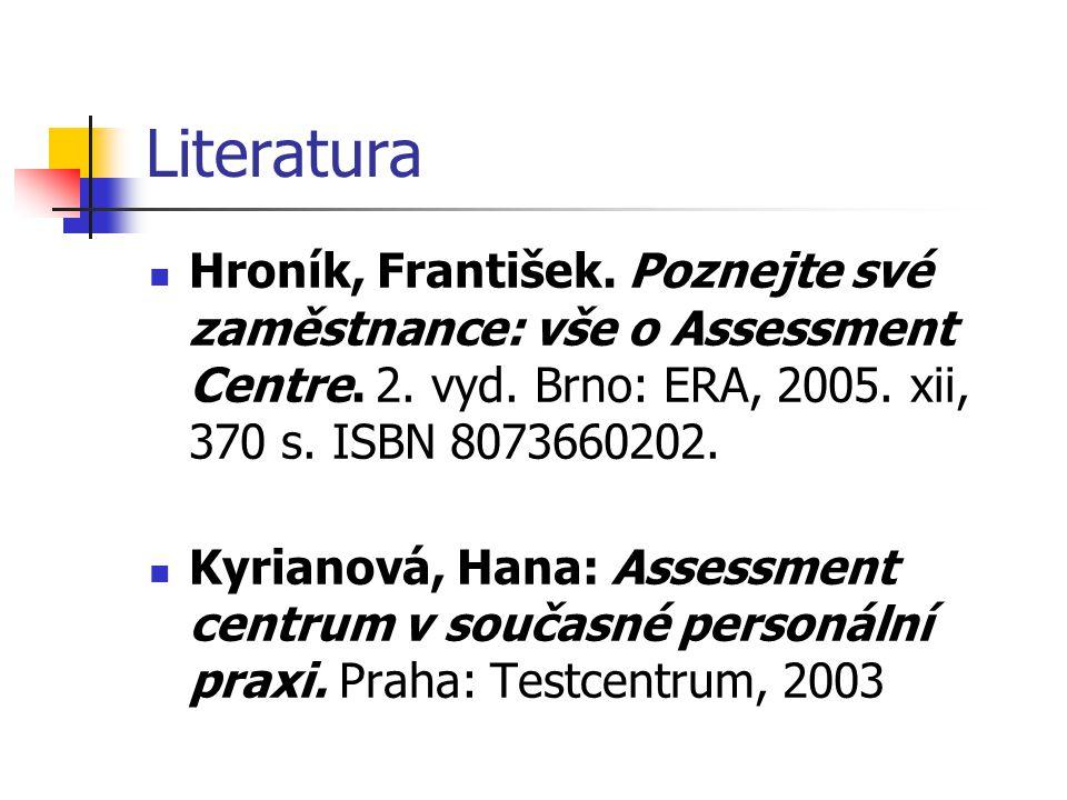 Literatura Hroník, František. Poznejte své zaměstnance: vše o Assessment Centre. 2. vyd. Brno: ERA, 2005. xii, 370 s. ISBN 8073660202.