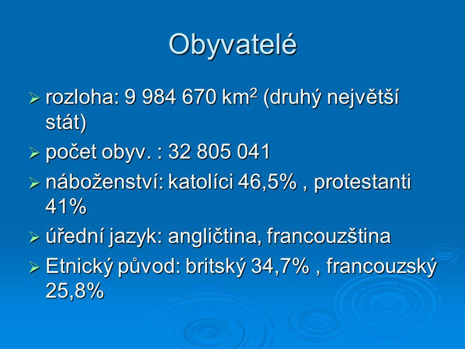 Obyvatelé rozloha: 9 984 670 km2 (druhý největší stát)
