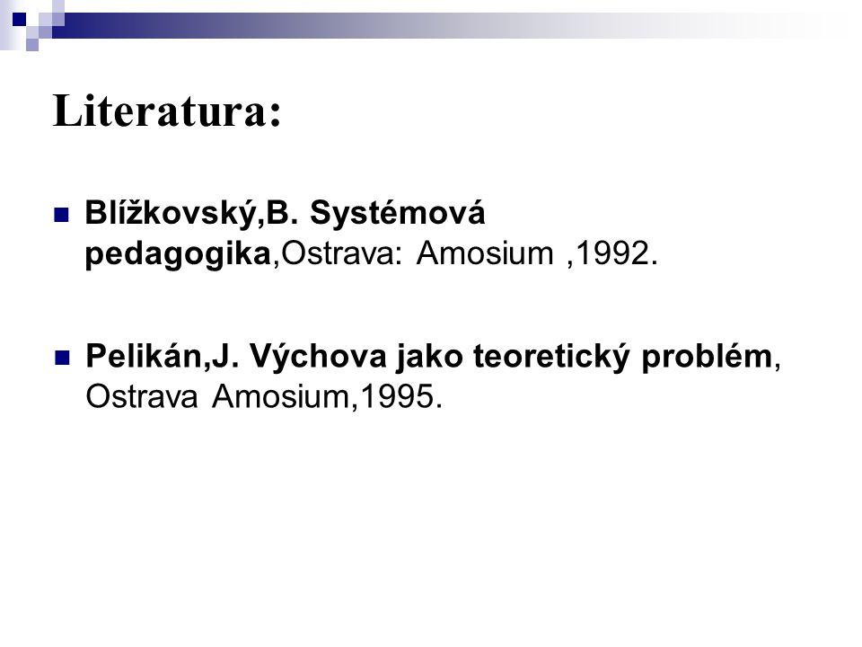 Literatura: Blížkovský,B. Systémová pedagogika,Ostrava: Amosium ,1992.
