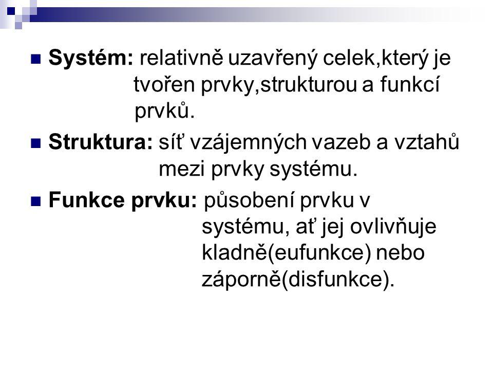 Systém: relativně uzavřený celek,který je