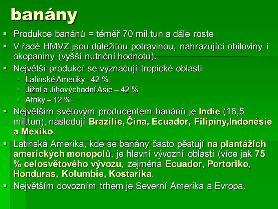 banány Produkce banánů = téměř 70 mil.tun a dále roste