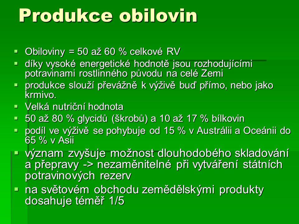 Produkce obilovin Obiloviny = 50 až 60 % celkové RV. díky vysoké energetické hodnotě jsou rozhodujícími potravinami rostlinného původu na celé Zemi.