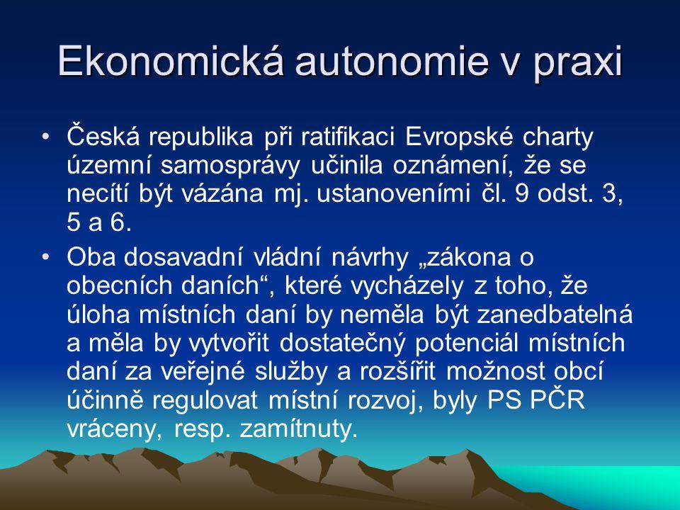Ekonomická autonomie v praxi