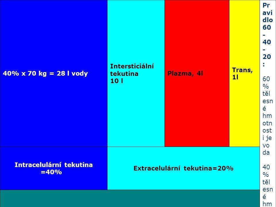 Intracelulární tekutina =40% Extracelulární tekutina=20%