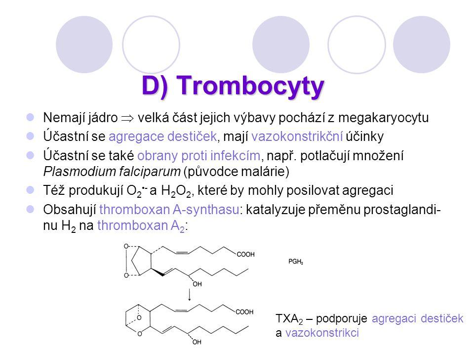 D) Trombocyty Nemají jádro  velká část jejich výbavy pochází z megakaryocytu. Účastní se agregace destiček, mají vazokonstrikční účinky.