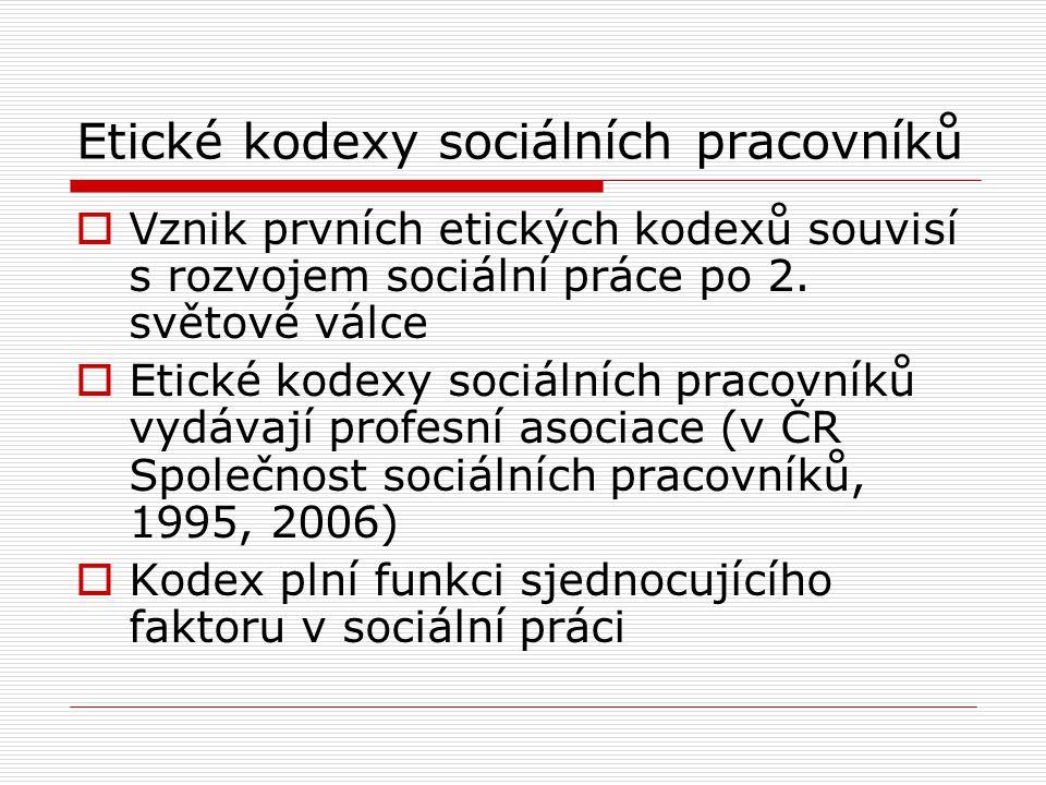 Etické kodexy sociálních pracovníků
