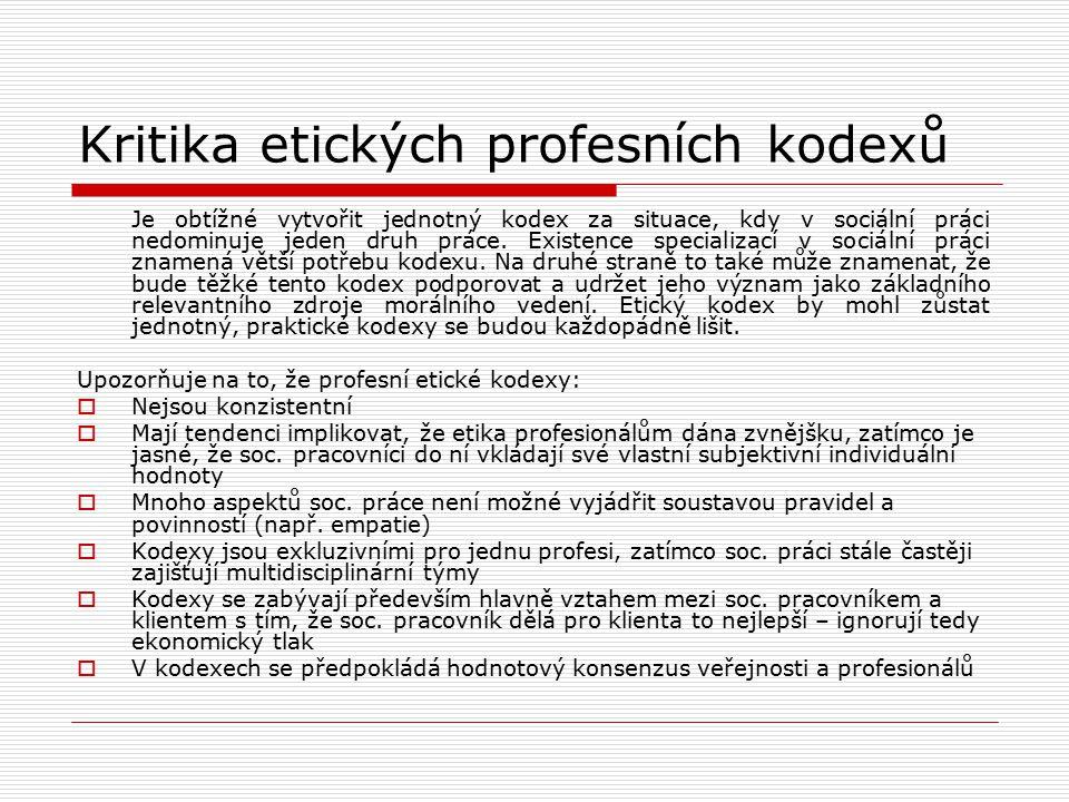 Kritika etických profesních kodexů