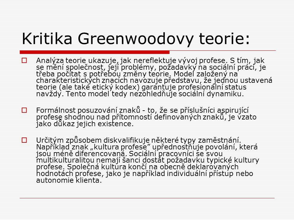 Kritika Greenwoodovy teorie: