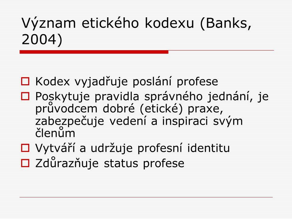 Význam etického kodexu (Banks, 2004)